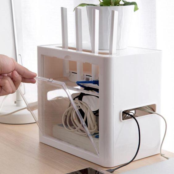 插座電線收納盒wifi路由器盒子理線器 桌面電源線整理排插集線盒
