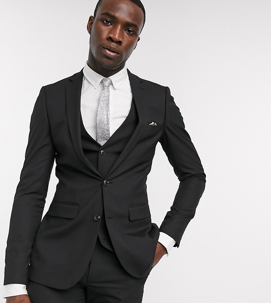 Harry Brown Tall skinny fit plain suit jacket-Black