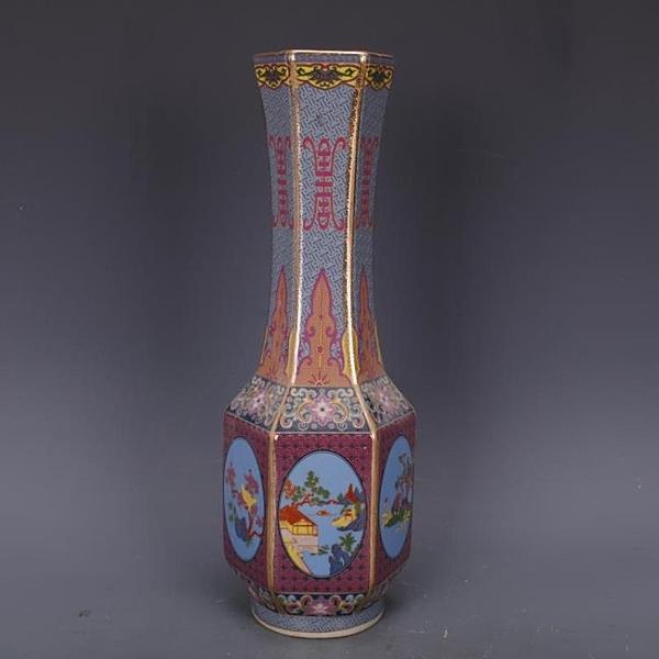 清乾隆琺瑯彩花鳥六方長頸瓶仿古瓷器家居中式擺件古董古玩收藏1入