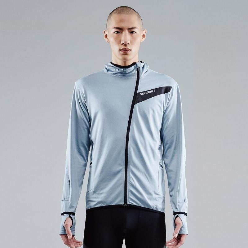 【SUPERACE】中層內刷毛咖啡紗跑步外套3.0 / 男款 / 藍 / 黑