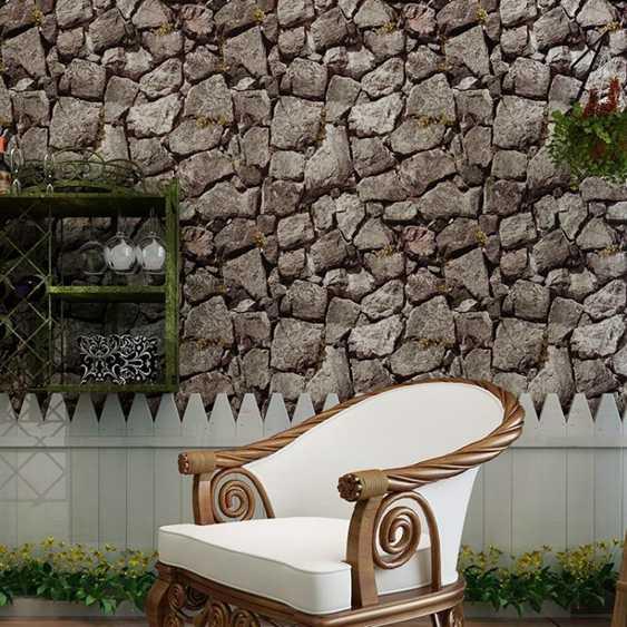 壁貼復古3d立體仿古石頭紋墻紙中式餐廳咖啡廳書房茶樓火鍋店飯店壁貼