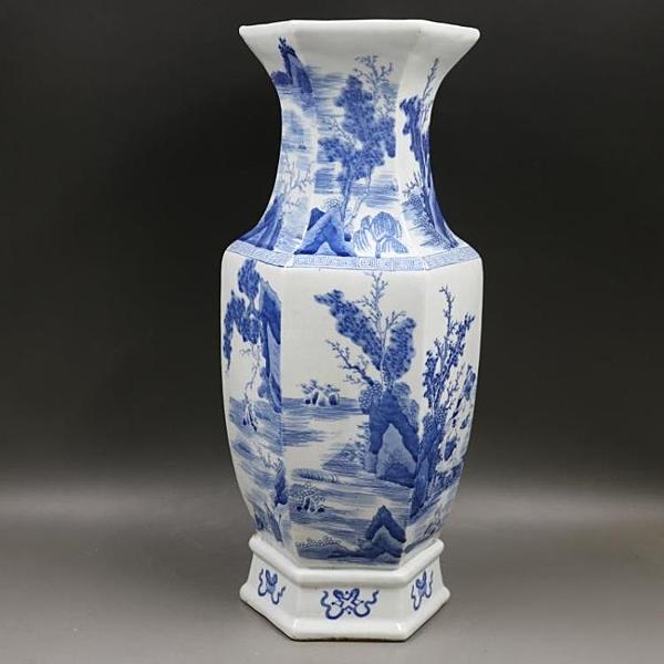 清康熙青花山水人物六方花瓶仿古工藝品家居博古架客廳古瓷器擺件1入