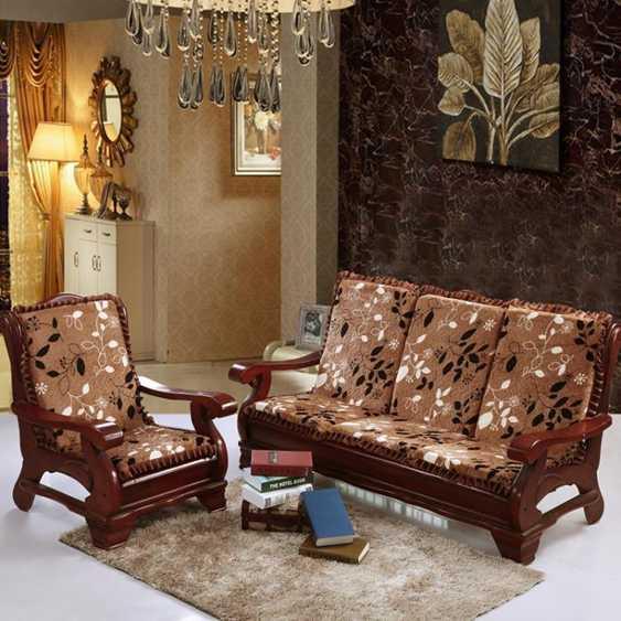 沙發墊 實木沙發墊帶靠背中式組合套裝四季通用套老式木頭木紅木沙發坐墊