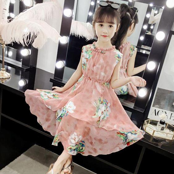 女童連衣裙新款夏裝韓版時髦中大童洋氣雪紡公主裙兒童沙灘裙