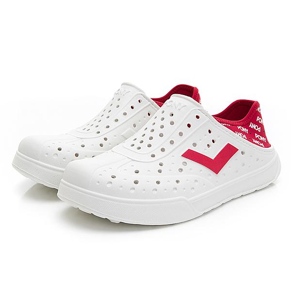 PONY 男女款白紅色洞洞水鞋-NO.02U1SA05RD
