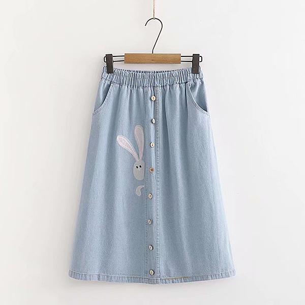 *ORead*鬆緊腰單排扣側邊兔子刺繡牛仔裙(淺藍色M~XL)