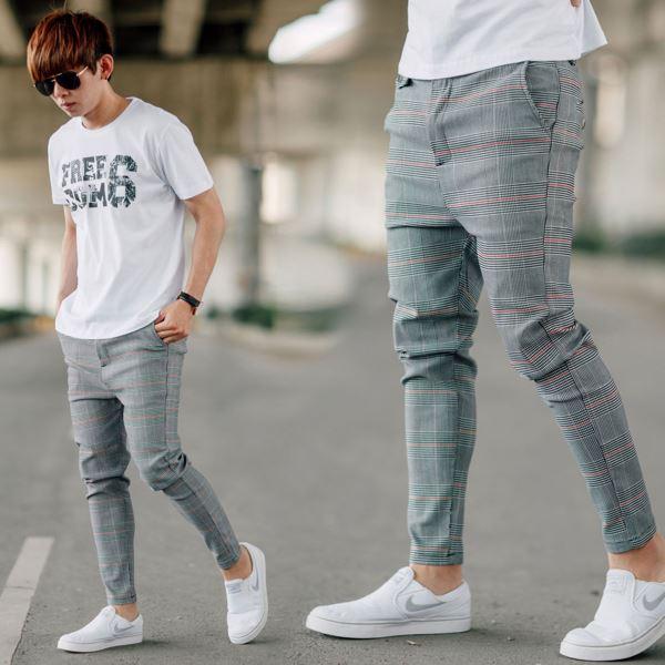【NB0824J】韓國製格紋低褲檔大彈力雅痞休閒褲長褲(LE-H551)