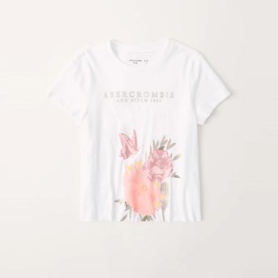 A&F 麋鹿 夏日花系印刷亮片大麋鹿文字短袖圖案T恤(女青年款)-白色