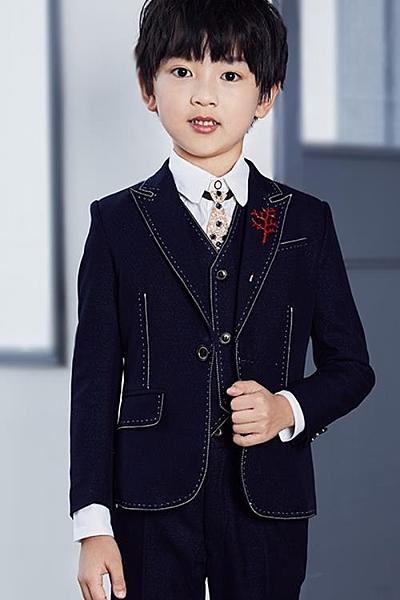 男童禮服兒童小西裝套裝西服帥氣小孩秋中大英倫風男孩三件套花童禮服【樂印百貨】