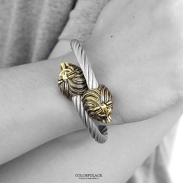 手環 鋼製立體雙頭金獅鋼索 NA495