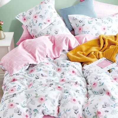 La Lune 簡奢200織台灣製精梳棉雙人床包枕套3件組-春江花月夜