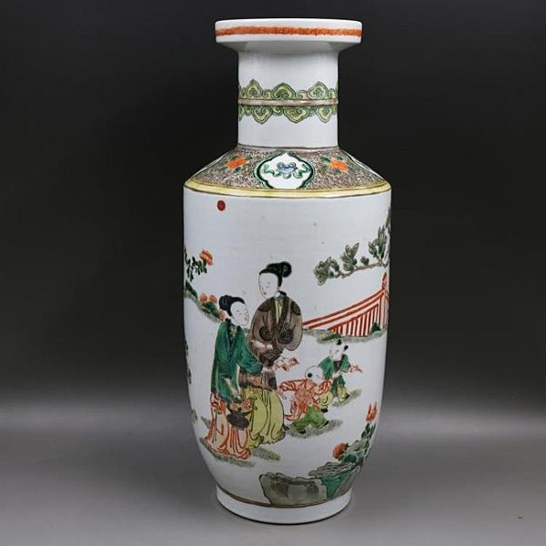 大清康熙古彩人物棒槌瓶手工仿古家居裝飾品瓷器擺件古董古玩收藏1入