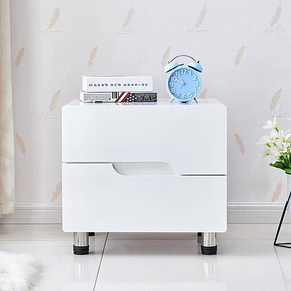 床頭櫃 床頭櫃歐式烤漆簡約現代白色多功能臥室儲物櫃簡易床邊收納小櫃子
