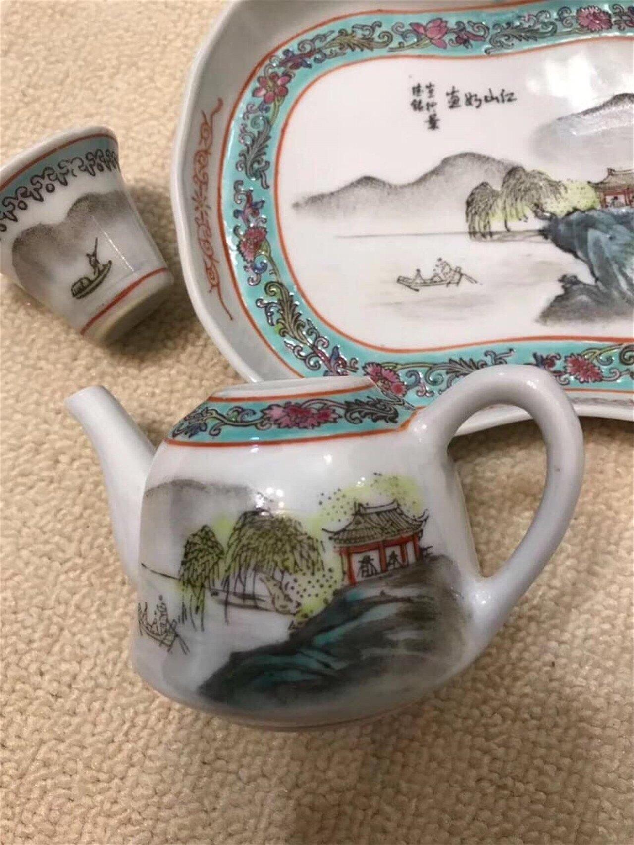 80年代 藝術瓷廠 粉彩手繪山水六頭小茶具