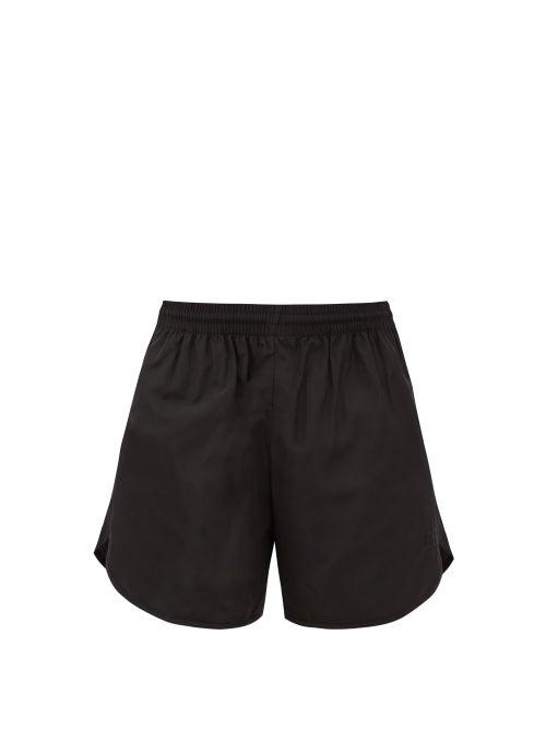 Balenciaga - Bb-embroidered Shell Shorts - Womens - Black