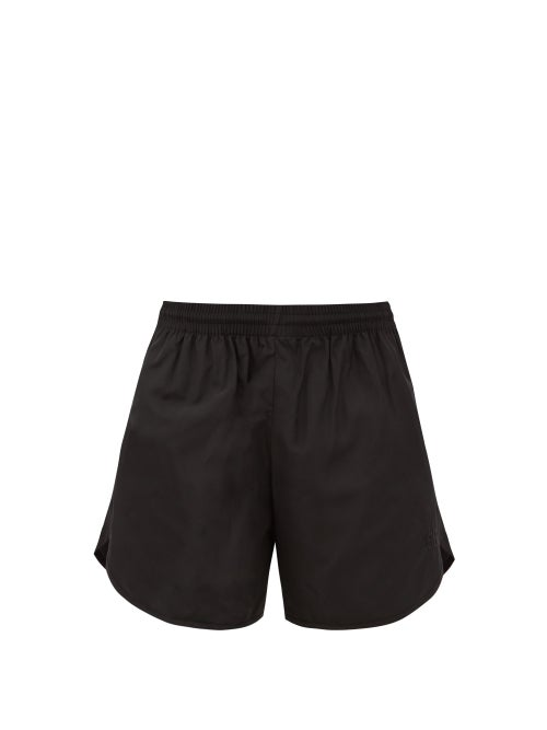 Balenciaga - Bb-embroidered Shell Shorts - Womens - Black