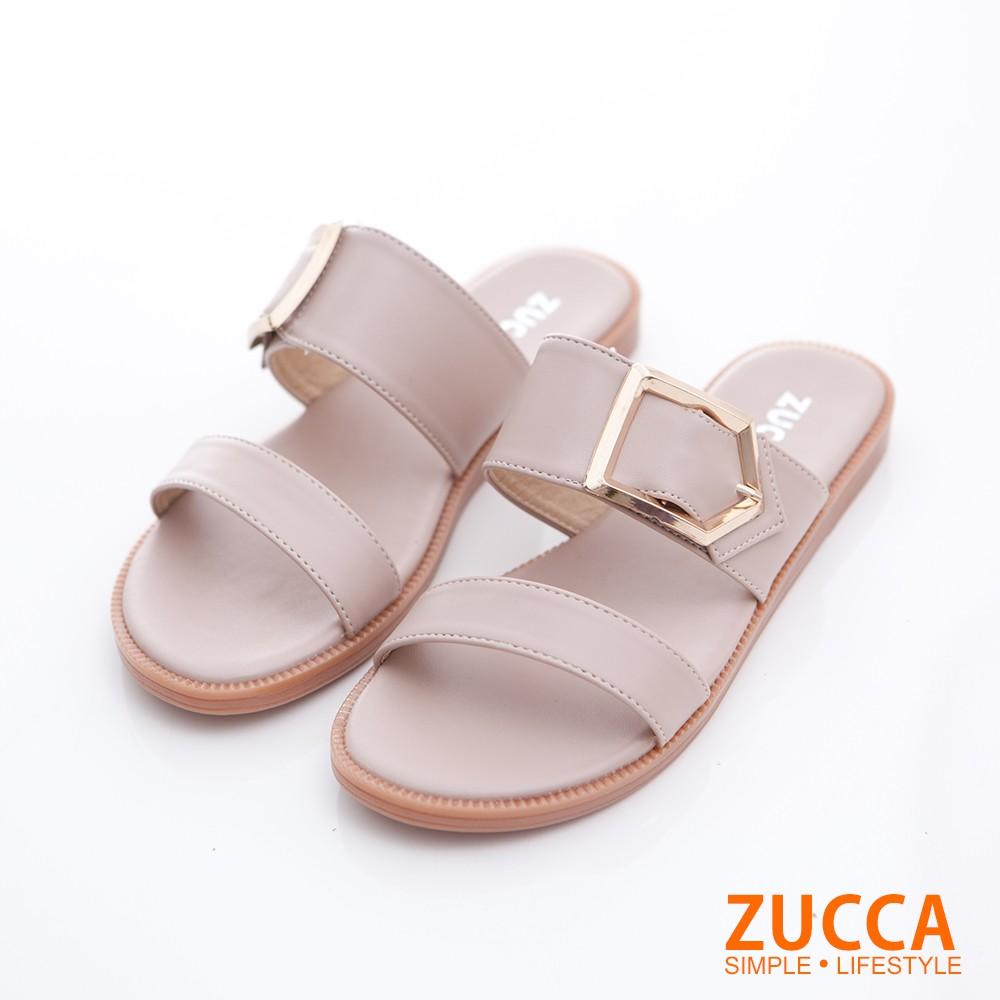 【ZUCCA】橫紋金屬扣平底拖鞋-z6805we-白