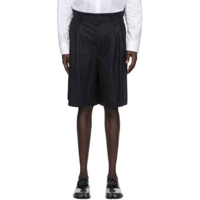 Maison Margiela 黑色细条纹法兰绒短裤