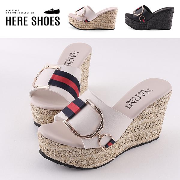 [Here Shoes] 前4後9.5cm拖鞋 皮革緞帶金屬D字飾品 圓頭厚底楔型涼拖鞋 MIT台灣製-KNGA317