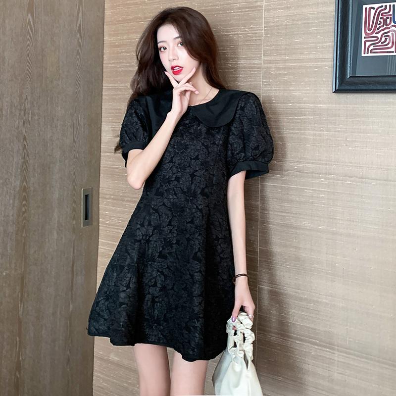 M-4XL大尺碼衣著 女裝2020夏季時尚設計感翻領提花收腰瘦法式泡泡洋裝