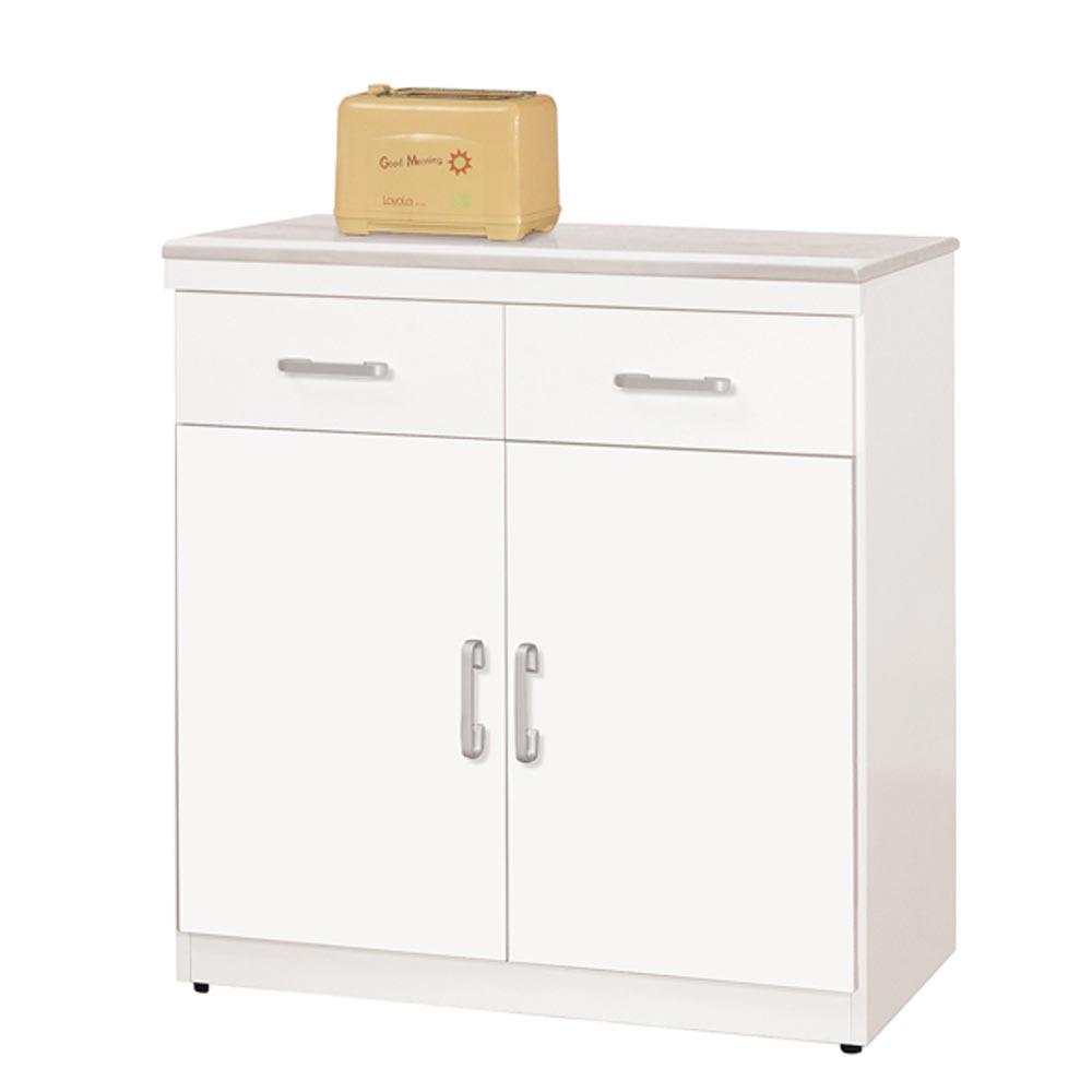 祖迪白色2.7尺石面雙門碗碟櫃下座/H&D東稻家居-消費滿3千送點數10%
