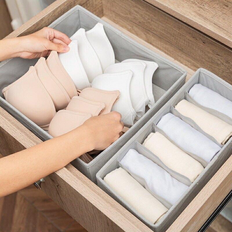 現貨供應▶布藝內衣收納盒家用文胸整理盒抽屜式分格內褲襪子收納箱--NATIONAL