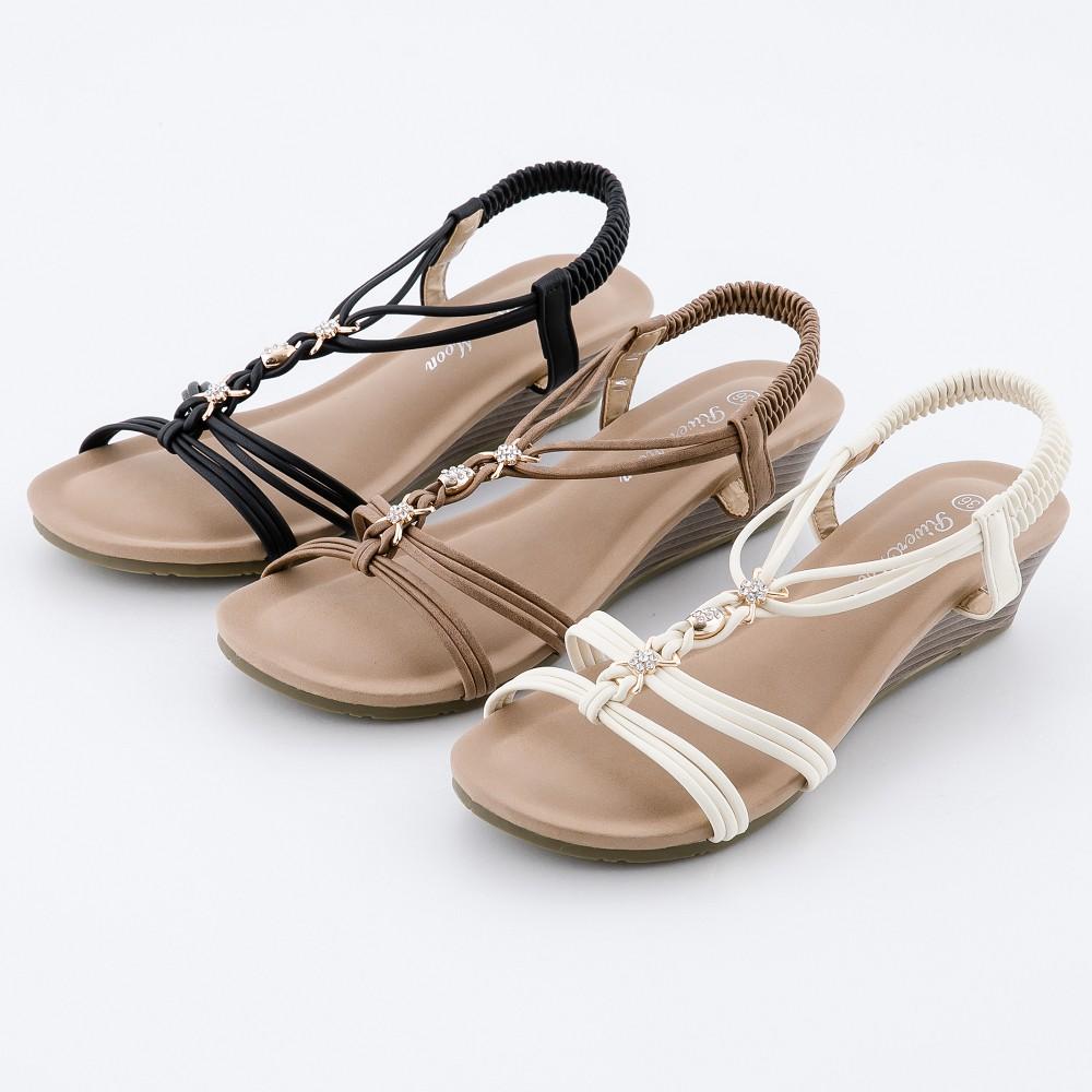 大尺碼女鞋 仲夏鑽扣細帶編織楔型涼鞋 River&Moon