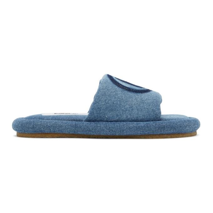 """MM6 Maison Margiela 蓝色""""6""""丹宁拖鞋"""
