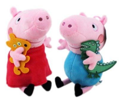 【卡漫迷】 佩佩豬 喬治 玩偶 二隻組 ㊣版 Peppa Pig 粉紅 豬小妹 絨毛 布偶 娃娃 擺飾 裝飾品 吊飾