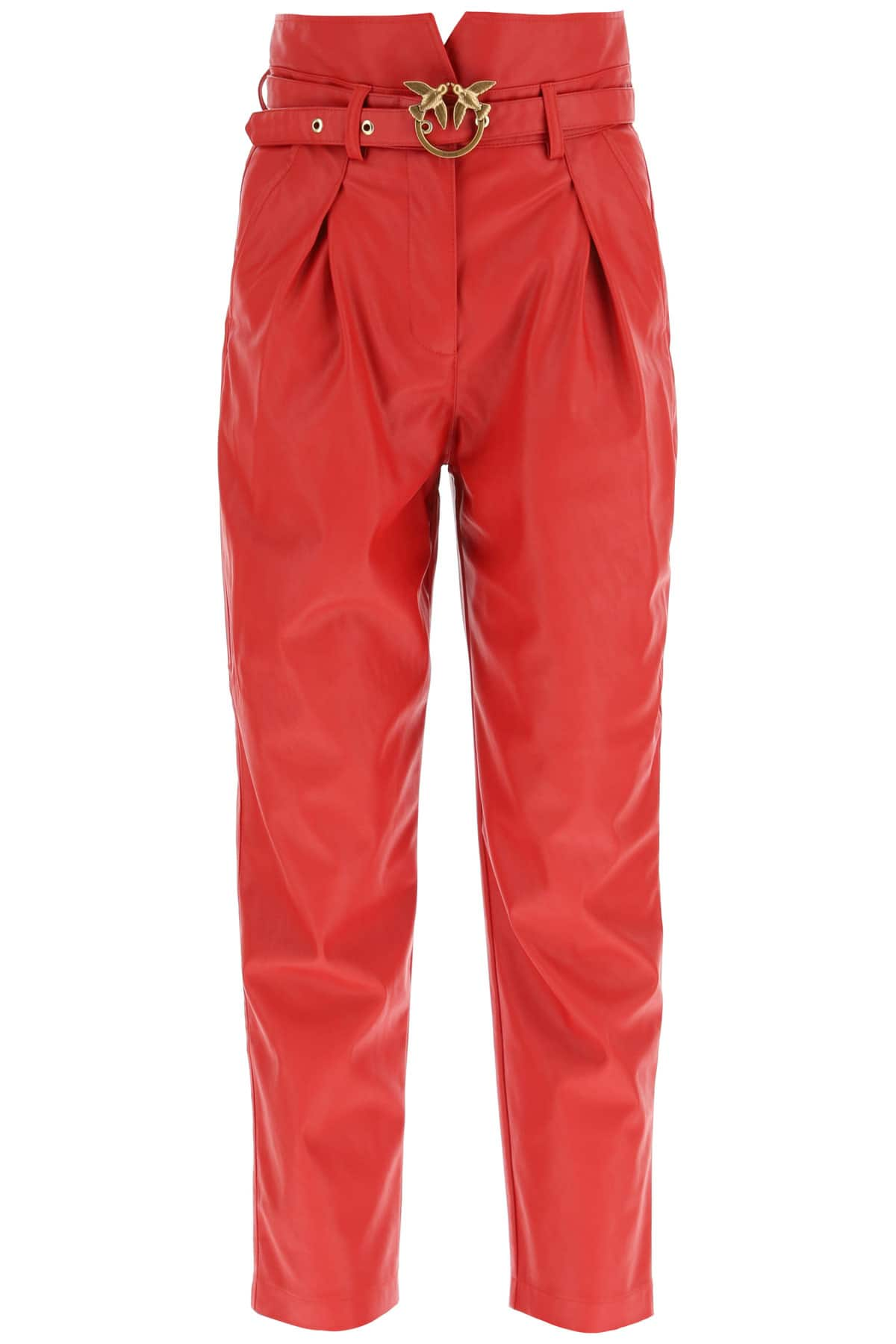 PINKO AURELIO FAUX LEATHER PANTS 44 Red Faux leather