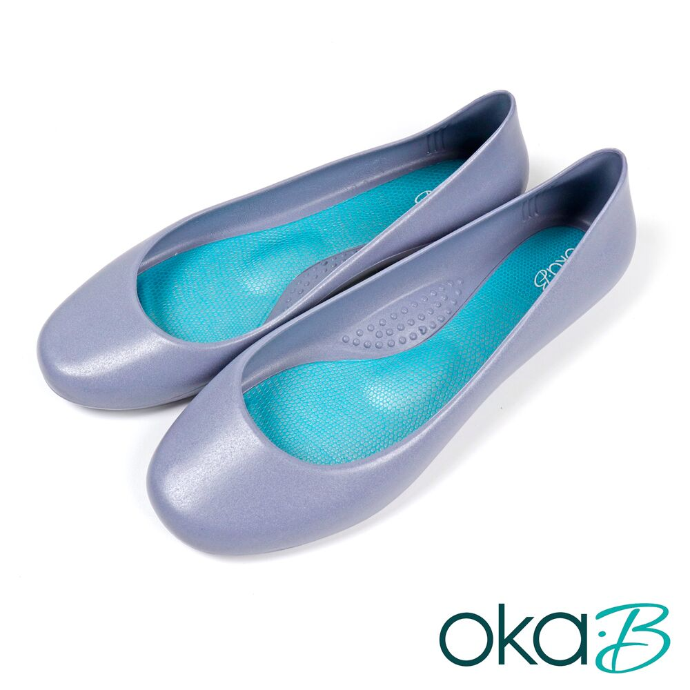 【Oka-B】經典素色防水平底娃娃鞋 淺紫色(K0526GE-LPUR)