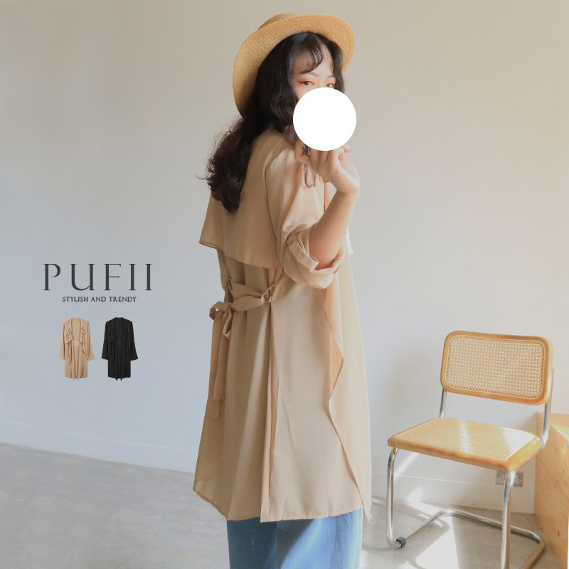 PUFII-風衣 《現貨》氣質翻領雪紡風衣外套(附綁帶)- 0721 夏 【CP18900】