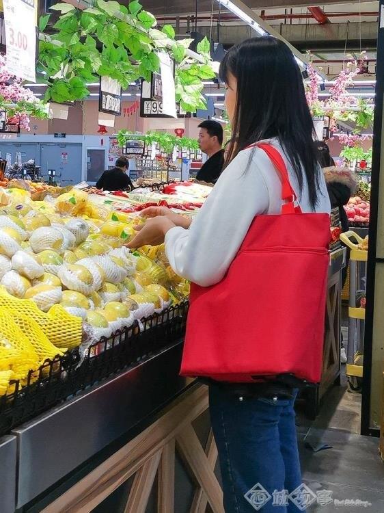 購物車 超市買菜車手拉包便攜拖車買菜神器家用小拉車購物袋可折疊拖輪包【99購物節】