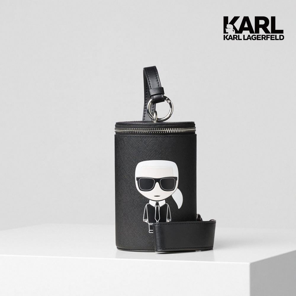 【KARL LAGERFELD】IKONIK真皮圓筒提包-黑