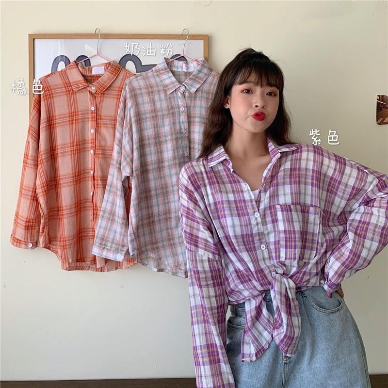 韓版新款百搭寬鬆薄款棉麻格子百搭防曬長袖襯衫