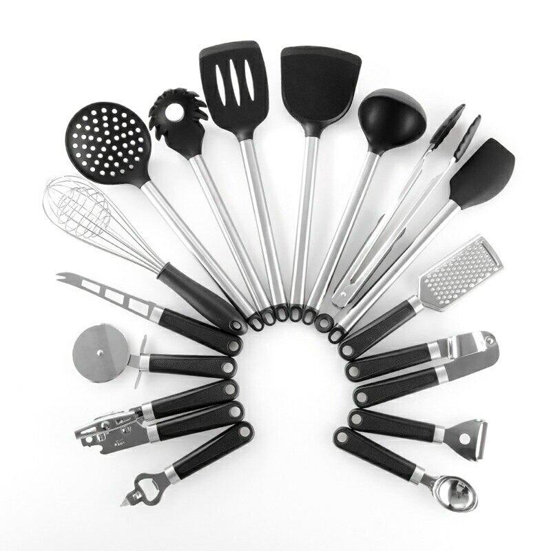 跨境亞馬遜多功能廚房小工具烹飪硅膠廚具鍋鏟開瓶器16件套套裝-NATIONAL