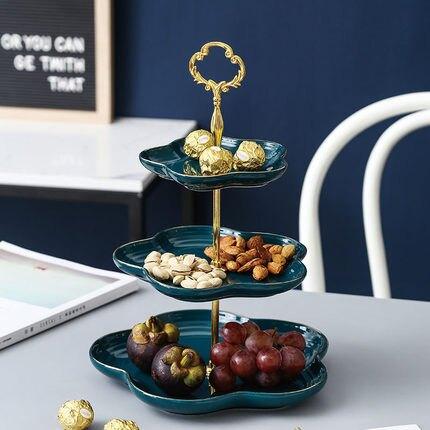 蛋糕點心架 北歐三層水果盤客廳擺展示架創意英式下午茶點心盤陶瓷家用甜品台『CM38587』