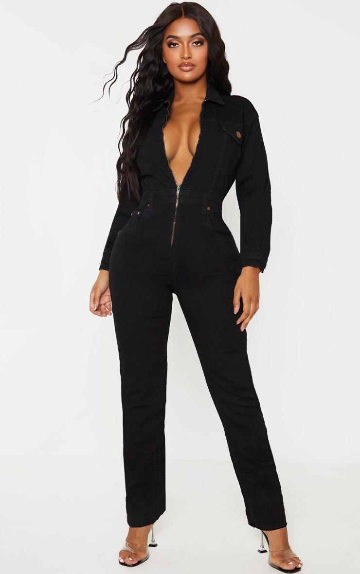 Shape Black Denim Zip Front Jumpsuit