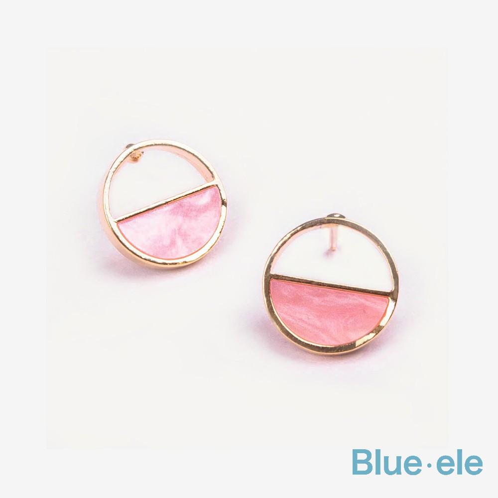 正韓半圓的倒影耳環 / 3色 / Semicircular Shadow Earrings AI001