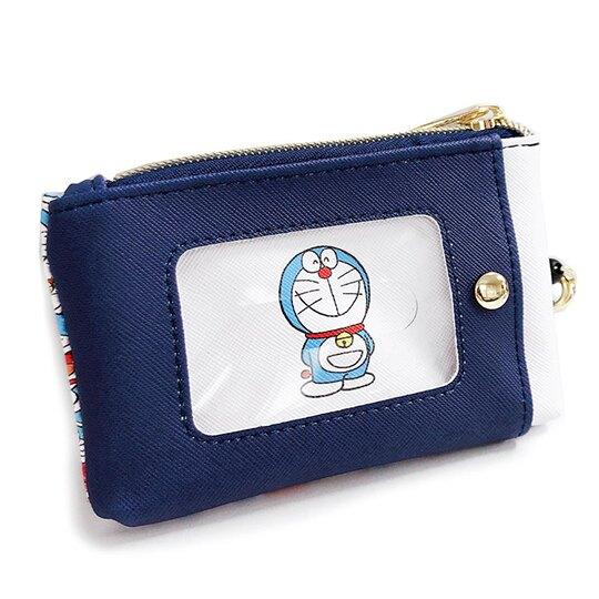 小禮堂 哆啦A夢 皮質拉鍊票卡零錢包 票卡夾 證件夾 小物包 (深藍 50週年)