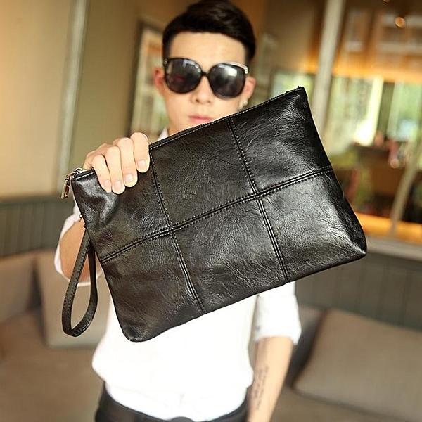手拿包潮流街頭韓版男格子手拿包 文件包 時尚手包 商務休閒信封包新款 雲朵走走