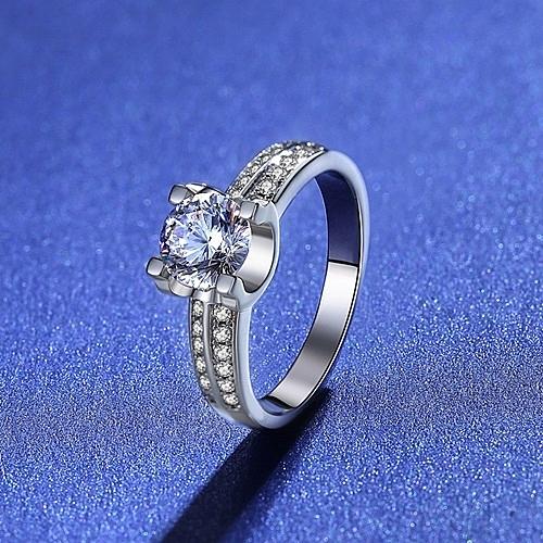 莫桑鑽戒指-1克拉8心8箭牛頭四爪925純銀女飾品73yk66{附GRA證書}【時尚巴黎】