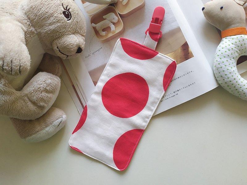 紅圈圈 夾式擦汗巾  手帕巾 小手帕 六層紗 擦汗巾 口水巾 手帕夾