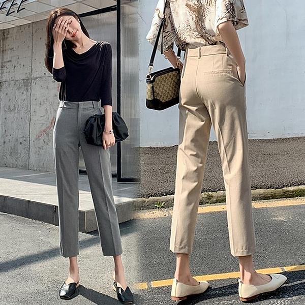 西裝褲 西裝褲女直筒寬鬆夏季薄款九分女褲八分小個子休閒煙管褲-Ballet朵朵