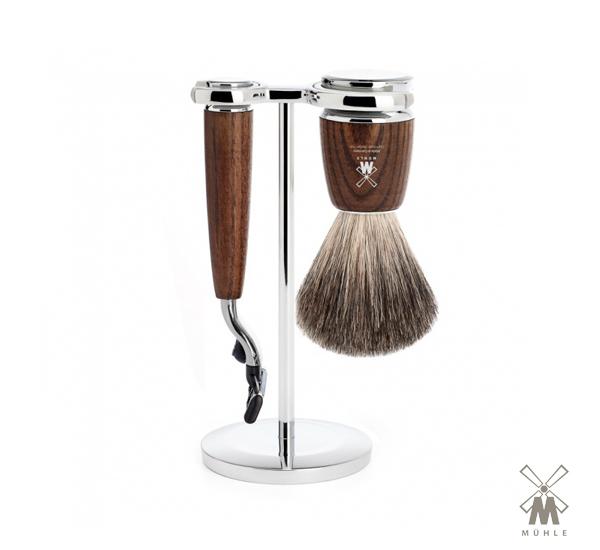 Muhle Rytmo Mach3 Shaving Set 三件式修容套組(煙燻木)