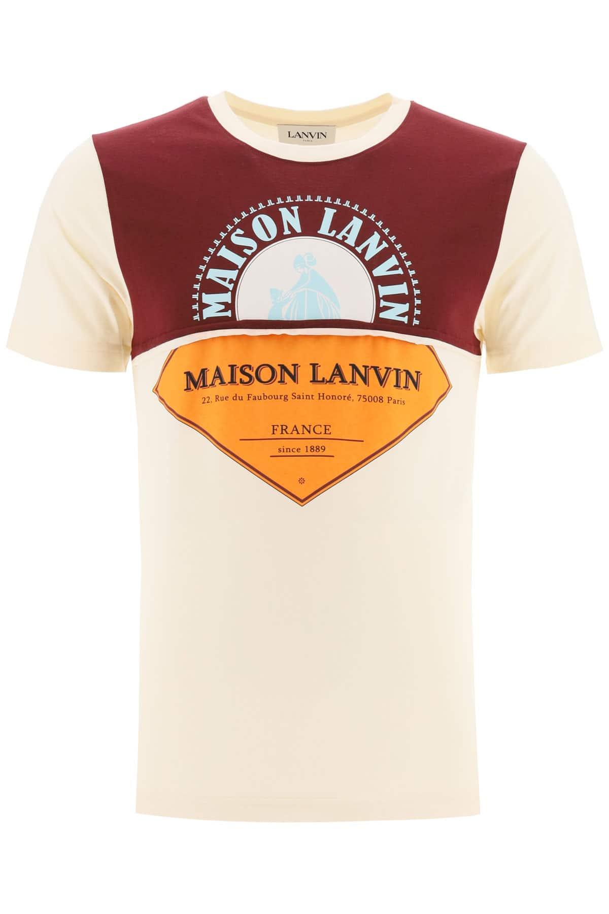 LANVIN MAISON LANVIN T-SHIRT S Beige, Orange, Light blue Cotton