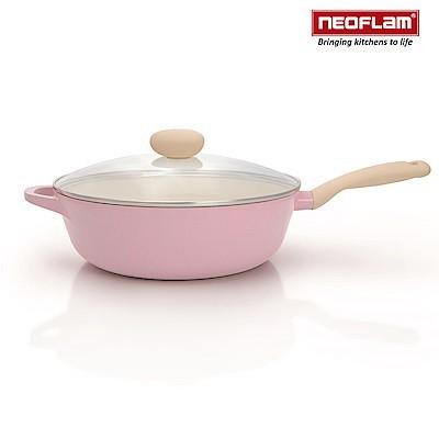 韓國NEOFLAM Retro粉紅公主鍋系列陶瓷不沾炒鍋 30cm 附鍋蓋 【蘋果樹鍋】 [送矽膠鏟]