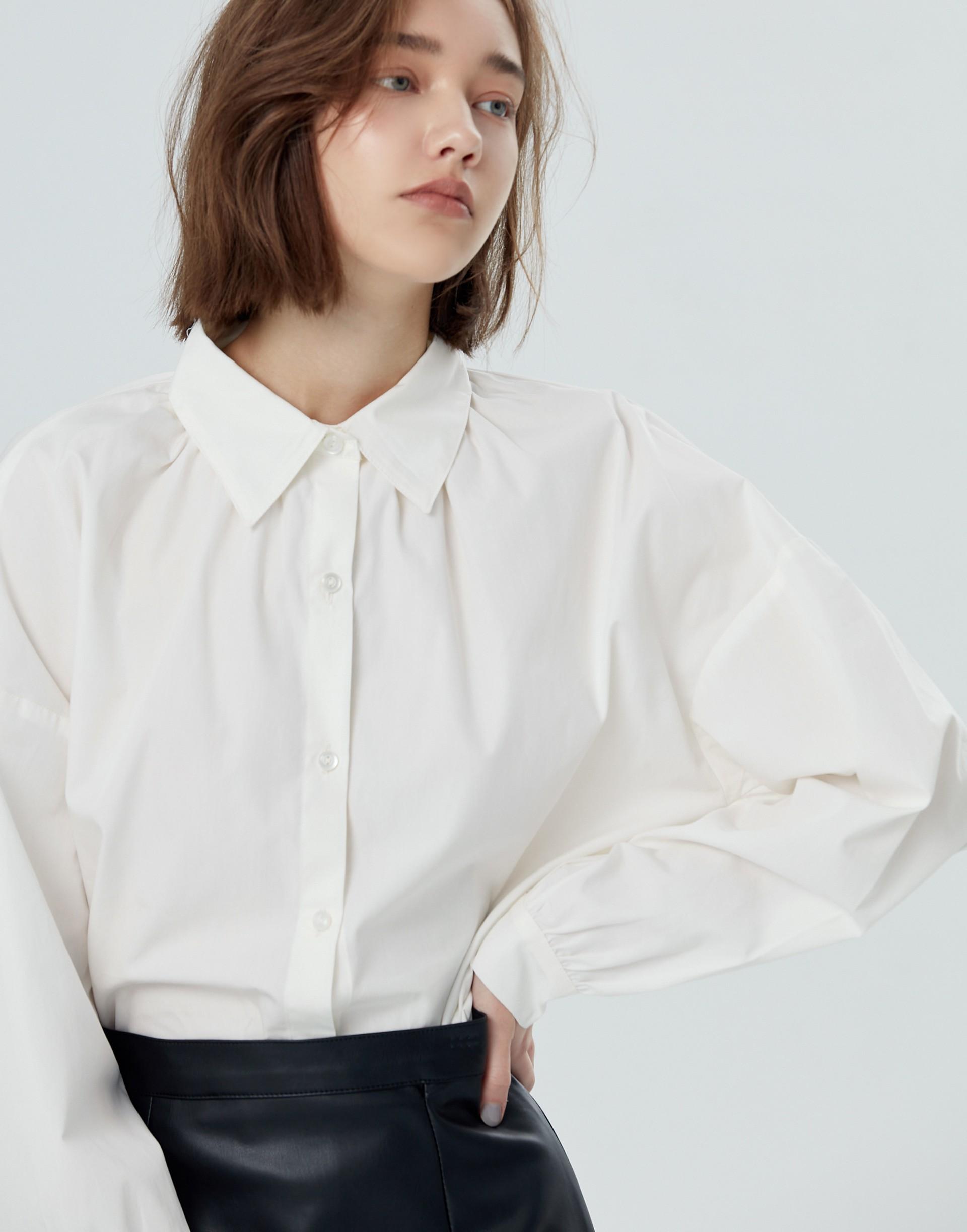 領抓皺簡約澎袖襯衫-女-Genquo