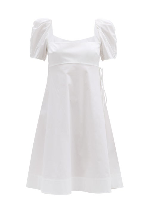 Brock Collection - Puffed-sleeve Cotton-blend Poplin Dress - Womens - White