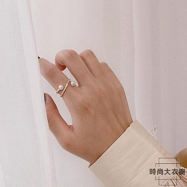 小眾設計裝飾食指戒指女韓版珍珠指環【時尚大衣櫥】